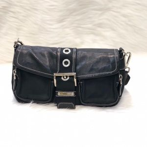 PRADA Vela Nylon Leather Shoulder Bag